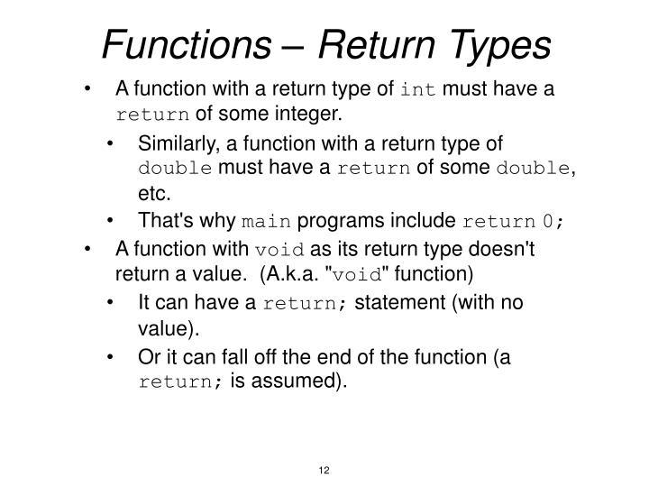 Functions – Return Types