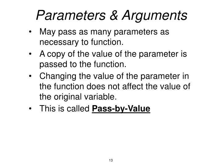 Parameters & Arguments