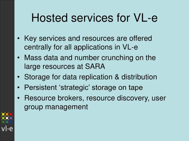 Hosted services for VL-e