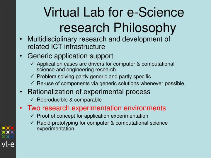 Virtual Lab for e-Science  research Philosophy