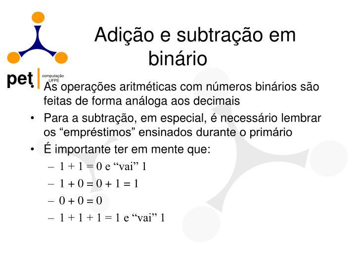 Adição e subtração em binário