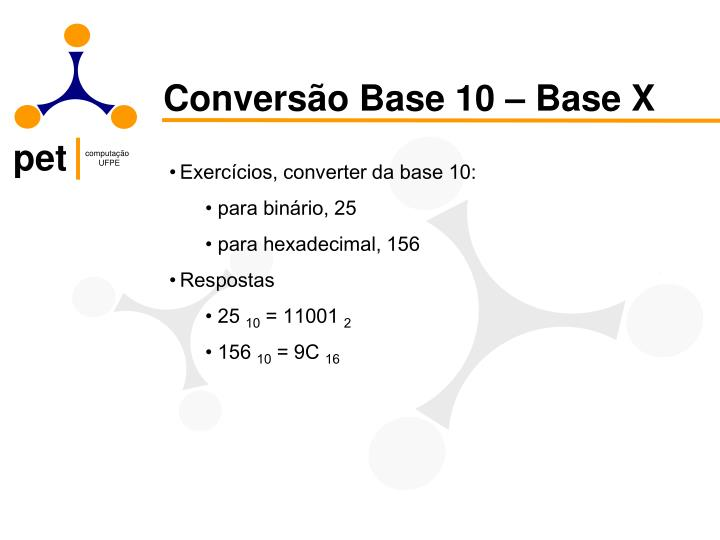 Conversão Base 10 – Base X