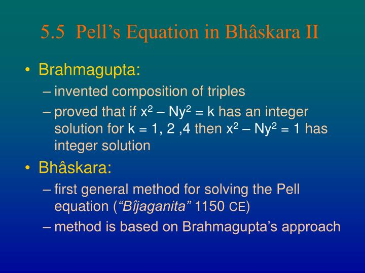 5.5  Pell's Equation in Bh