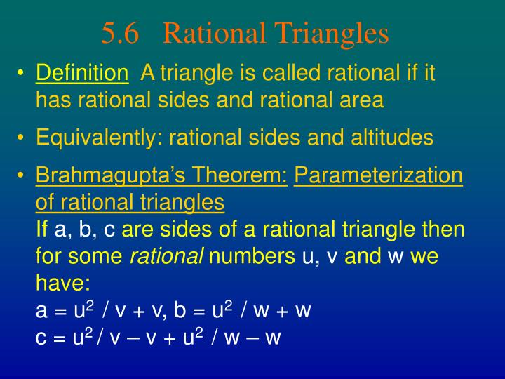5.6   Rational Triangles