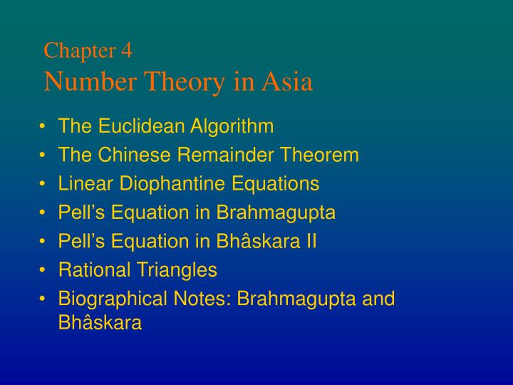Chapter 4 number theory in asia