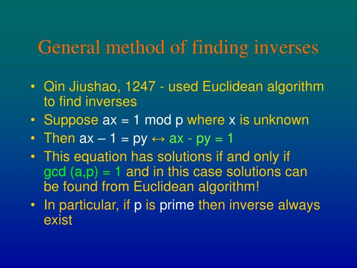 General method of finding inverses