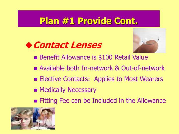 Plan #1 Provide Cont.