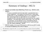 summary of findings 802 3z