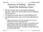 summary of findings sponsor ballot the balloting center
