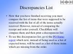 discrepancies list