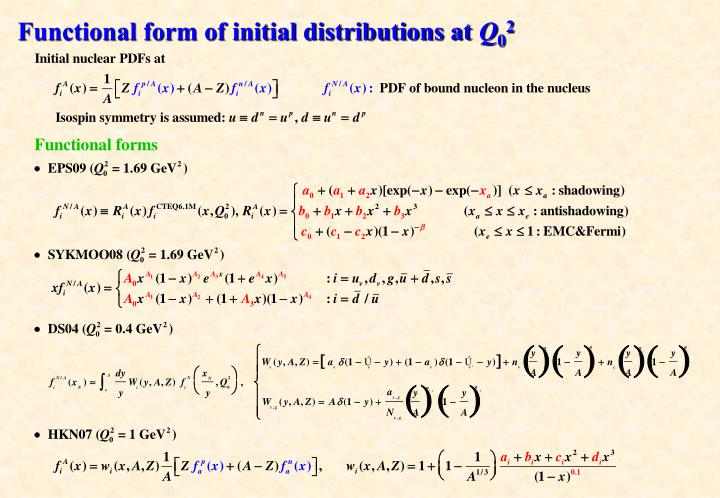 Functional form of initial distributions at