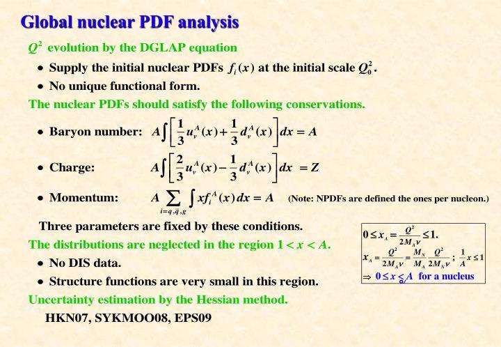 Global nuclear PDF analysis