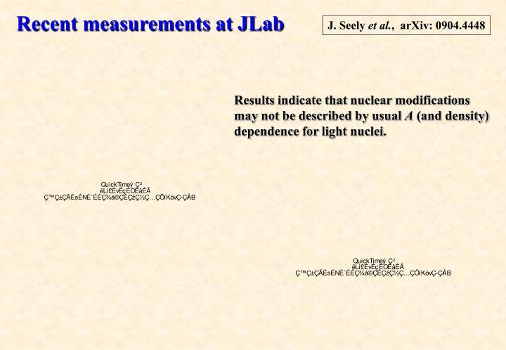 Recent measurements at JLab