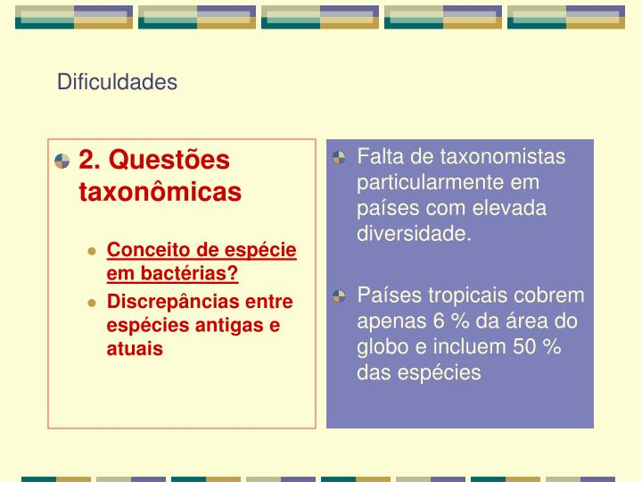 2. Questões taxonômicas