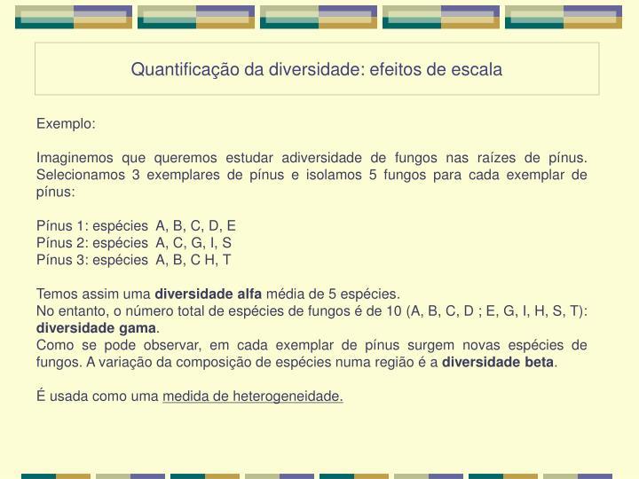 Quantificação da diversidade: efeitos de escala