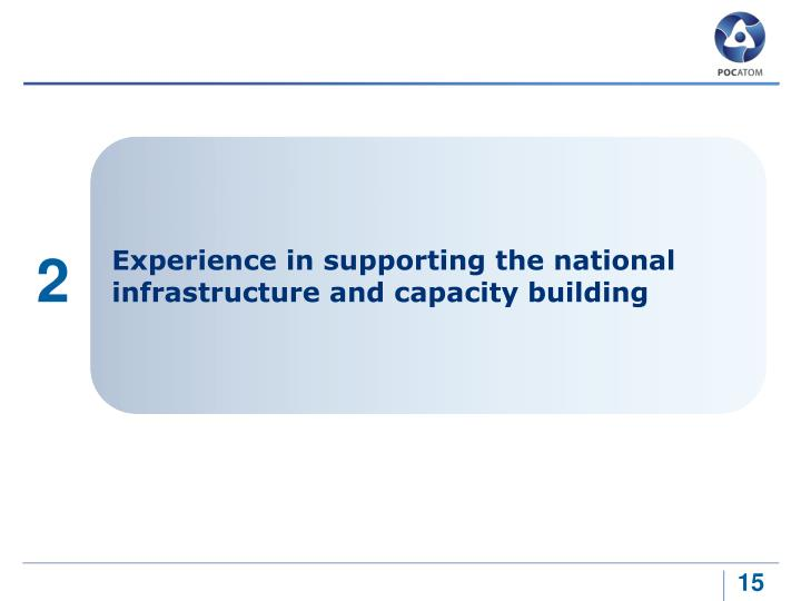 Experience in supporting the national infrastructure and capacity building