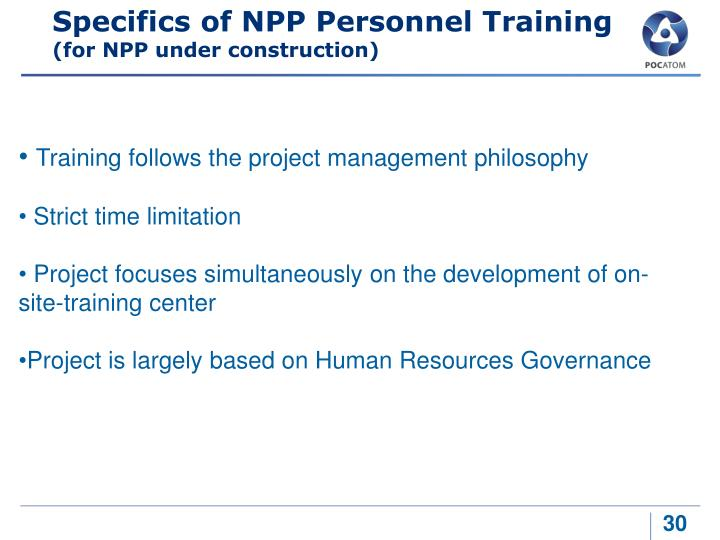 Specifics of NPP Personnel Training