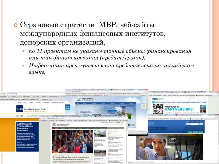 Страновые стратегии  МБР, веб-сайты международных финансовых институтов, донорских организаций,
