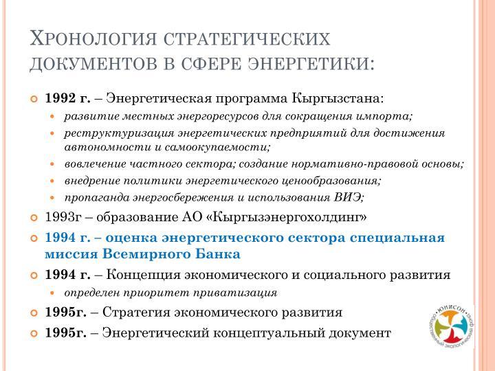 Хронология стратегических документов в сфере энергетики:
