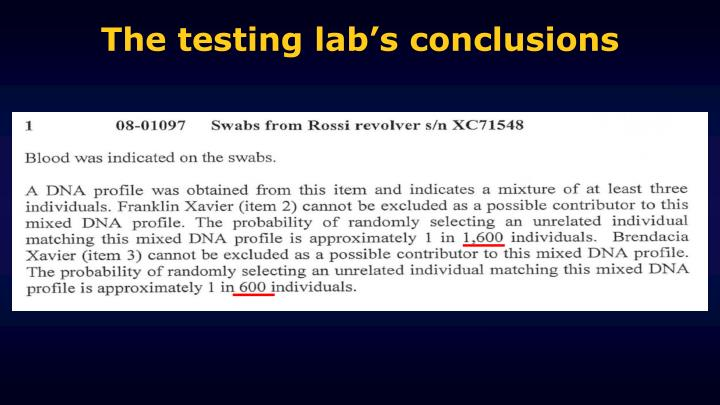 The testing lab's conclusions