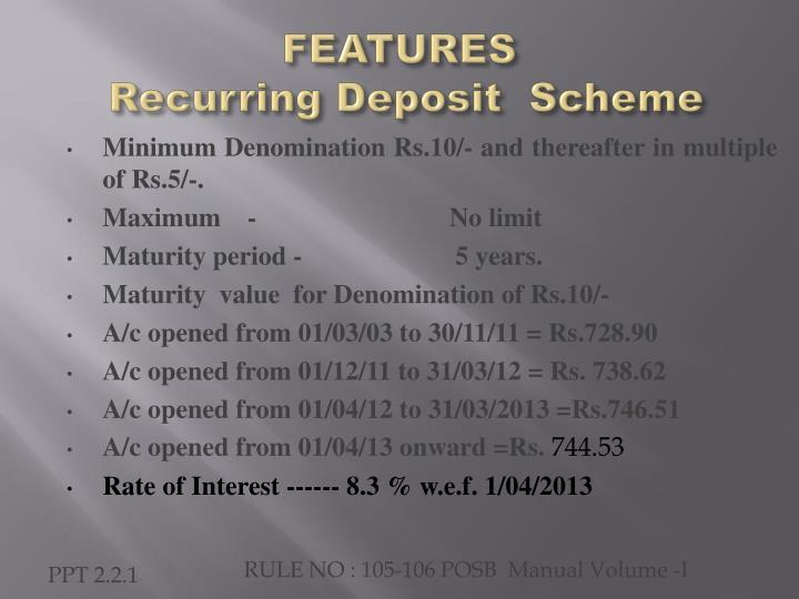 Features recurring deposit scheme
