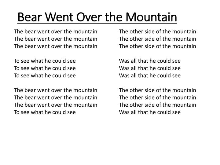 Bear Went Over the Mountain