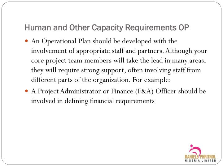 Human and other capacity requirements op