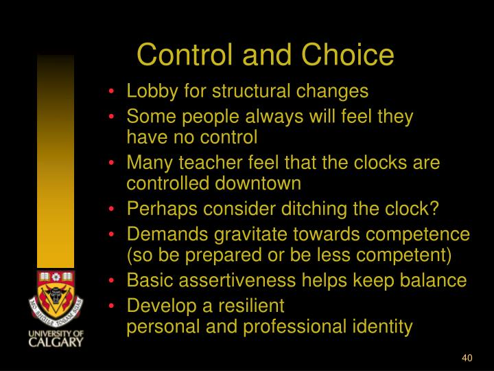 Control and Choice