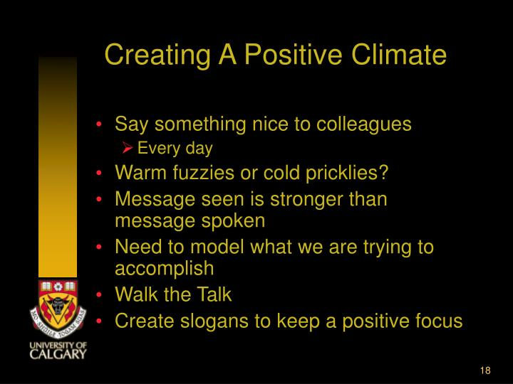 Creating A Positive Climate
