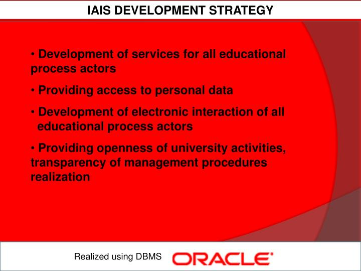 IAIS DEVELOPMENT STRATEGY
