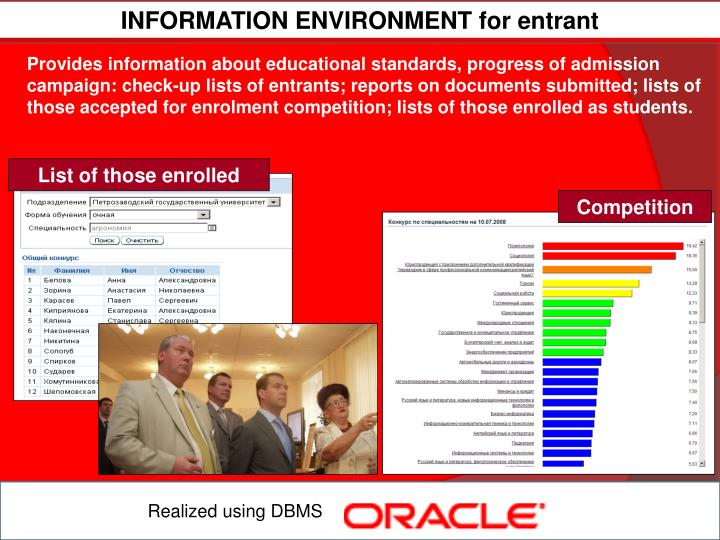 INFORMATION ENVIRONMENT for entrant