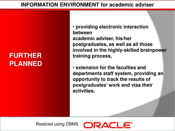 INFORMATION ENVIRONMENT for academic adviser