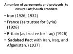 a number of agreements and protocols to ensure east south frontiers