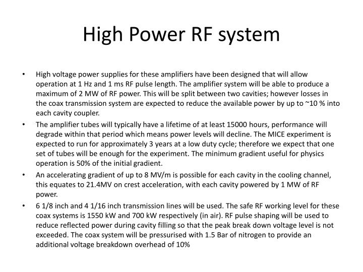 High power rf system