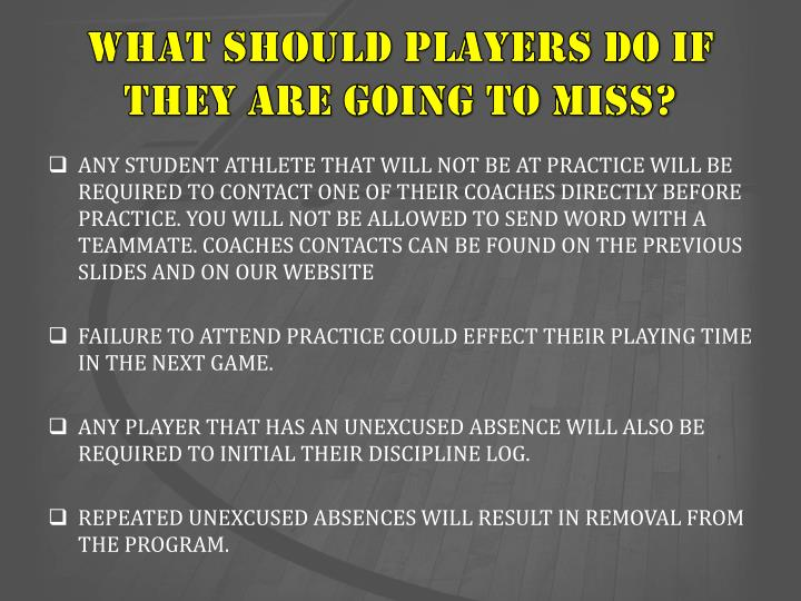 WHAT SHOULD PLAYERS DO IF THEY ARE GOING TO MISS?