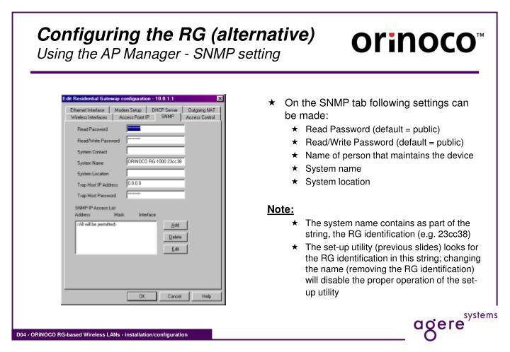 Configuring the RG (alternative)