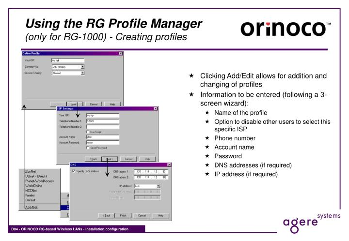 Using the RG Profile Manager
