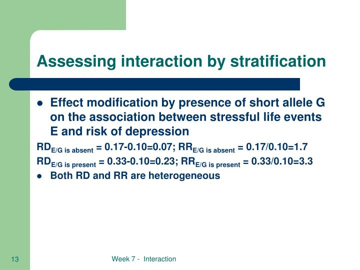 Assessing interaction by stratification