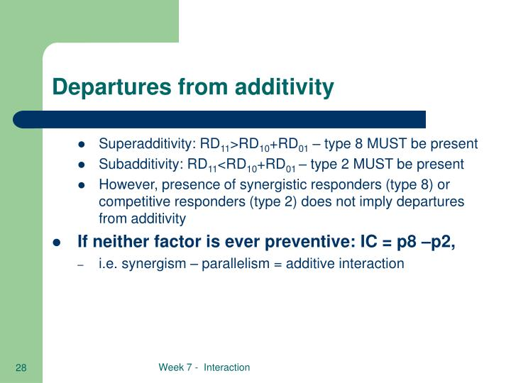 Departures from additivity