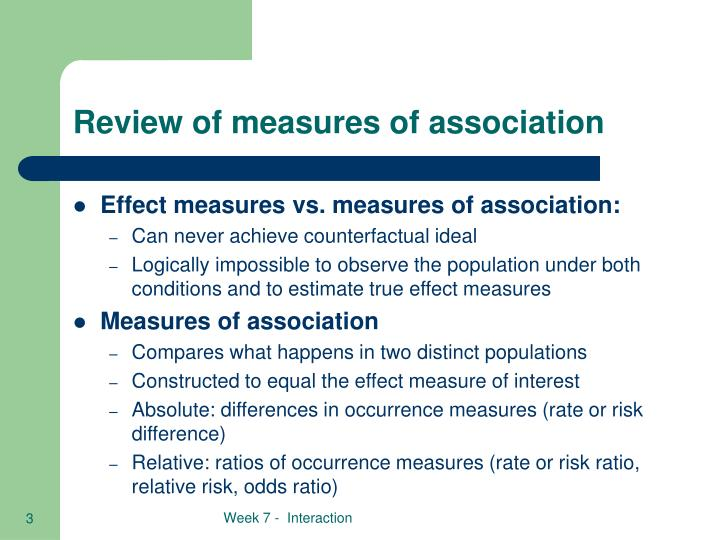 Review of measures of association