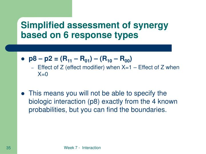 Simplified assessment of synergy based on 6 response types