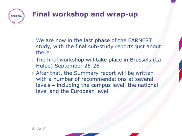Final workshop and wrap-up