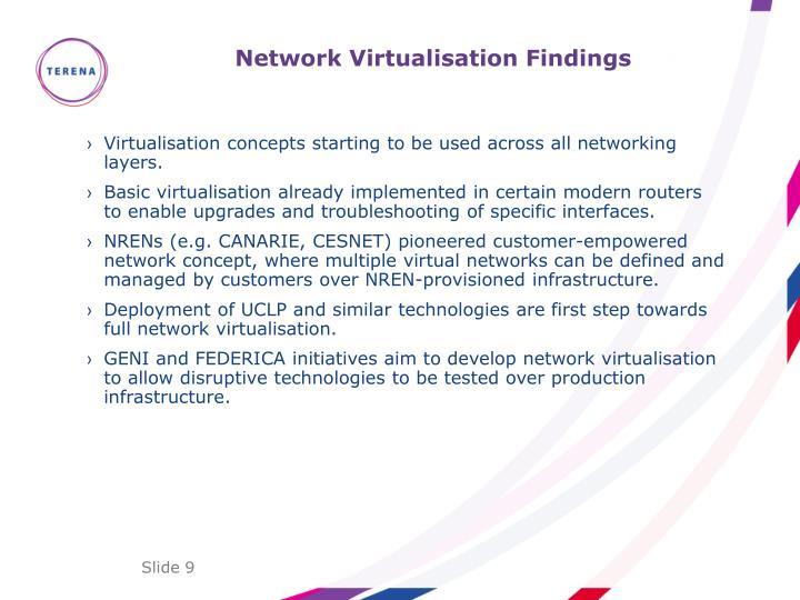 Network Virtualisation Findings