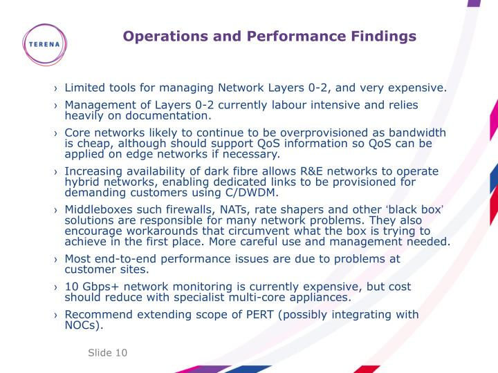 Operations and Performance Findings