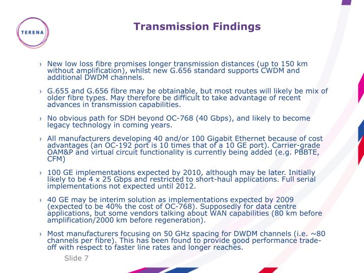Transmission Findings