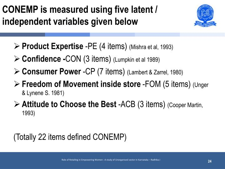 CONEMP is measured using five latent / independent variables given below