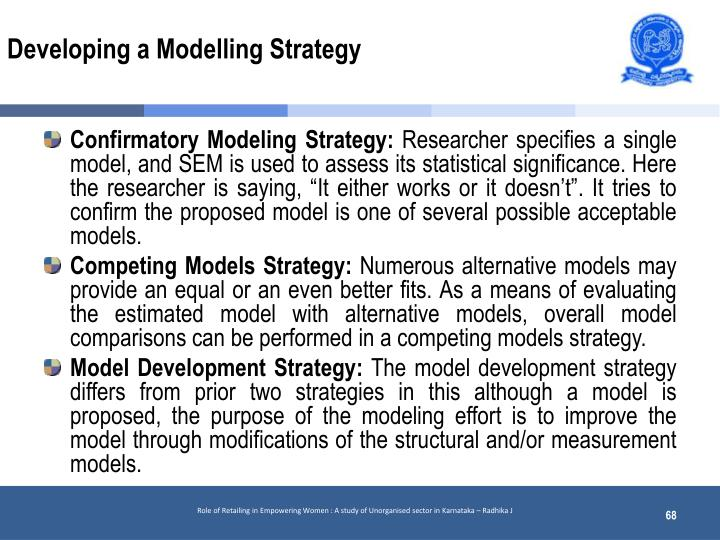 Developing a Modelling Strategy