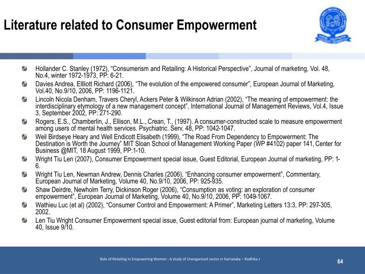 Literature related to Consumer Empowerment
