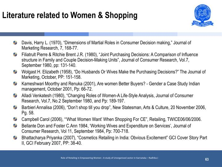 Literature related to Women & Shopping