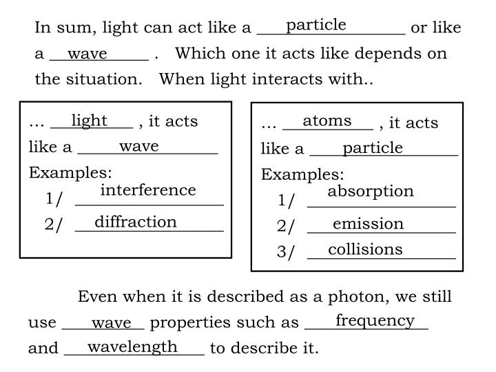 In sum, light can act like a __________________ or like